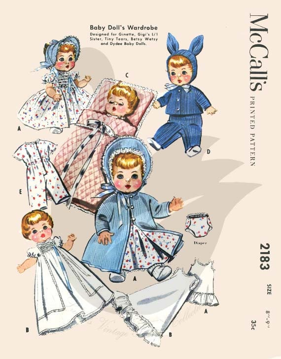 """5-Pattern Pack for 11/"""" Tiny Tears Dy-Dee Baby Dolls"""