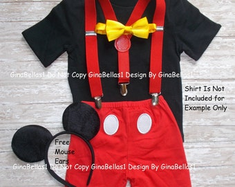 Mickey Mouse Birthday outfit cake smash costume boy bow tie SHORTS clubhouse FREE ears RED suspenders 1st 2nd 3rd 9 12 18 24 2T toddler & Mickey mouse costume | Etsy