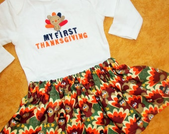 Baby Boy 1st Thanksgiving Christmas Bodysuit Shirt Bow Tie personalized 0-3-6-12