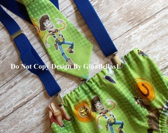 7ea608a43853 Buzz Woody Birthday cake smash Toy Story outfit costume barnyard farm  animals optional Hat diaper cover suspenders bow tie 12 18 24 toddler