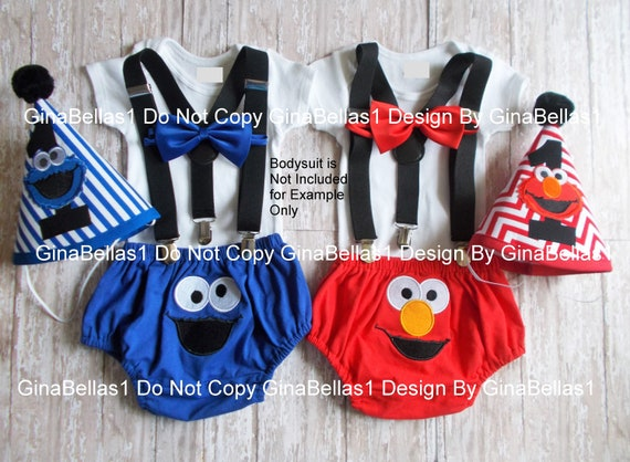 Cookie Monster Birthday outfit Sesame Street Elmo cake smash Solid Black  suspenders embroidered diaper cover bow tie 9 12 18 24 toddler Sale