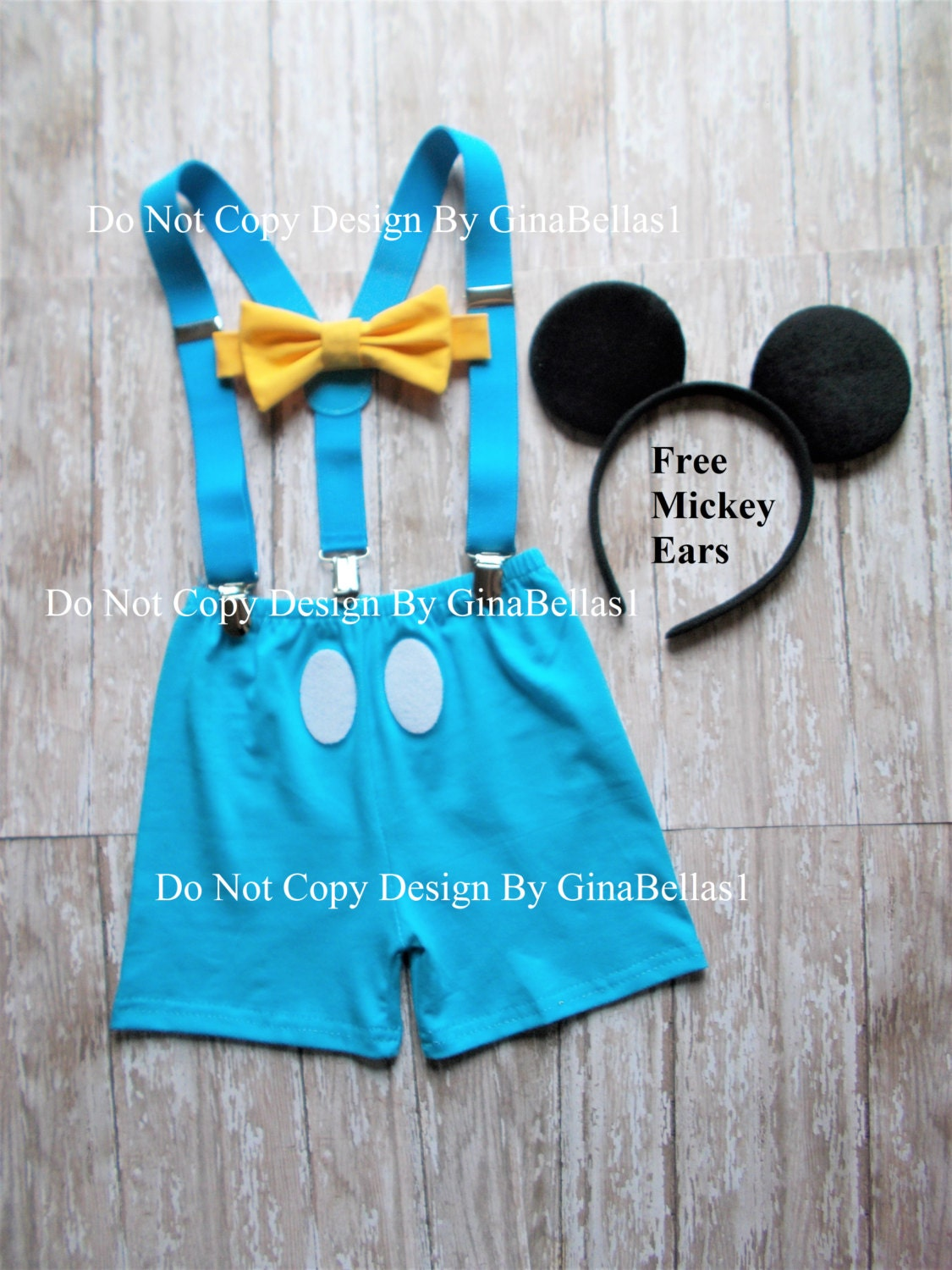 Mickey Mouse outfit Birthday cake smash Blue suspenders Yellow
