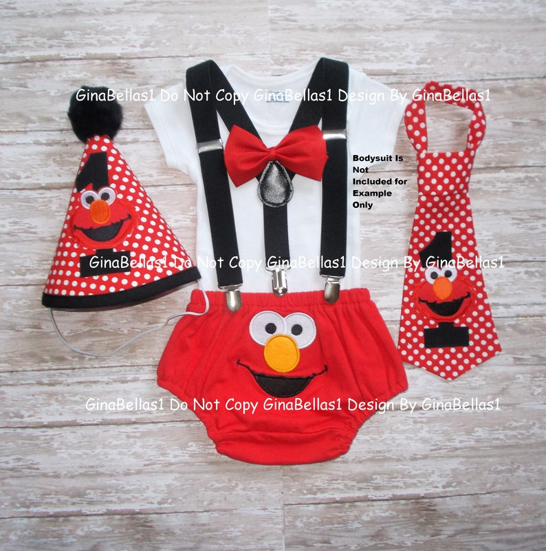 Elmo Birthday outfit Sesame Street cake smash solid black suspenders diaper  cover necktie or bow tie I am One Hat 12 18 24 toddler