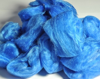 Mulberry Silk - Hand Dyed Silk - Sapphire Blue Silk - Made from A Grade Mulberry Silk Hankies - Silk for Spinning - Silk for Felting