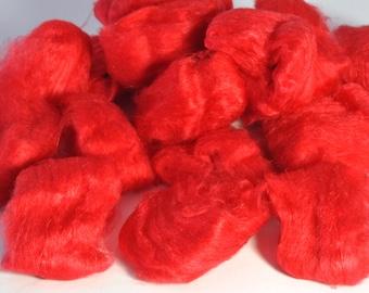 Mulberry Silk - Hand Dyed Silk - Red Silk - Made from A Grade Mulberry Silk Hankies - Silk for Spinning - Silk for Felting