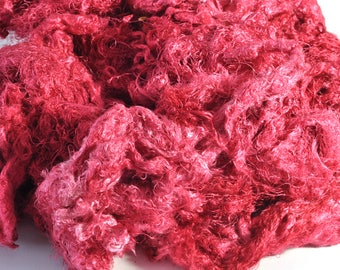 Silk - Hand Dyed Mulberry Silk Throwsters Waste - Silk Filaments - Silk Fibre - Silk for Spinning - Silk for Felting