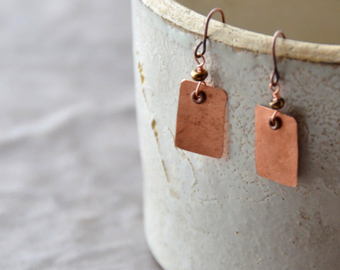 The Candy Bar hammered copper Earrings, select size