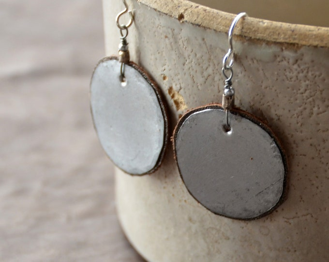 Mother Earth - hammered tin Earrings with bronze leather, select size