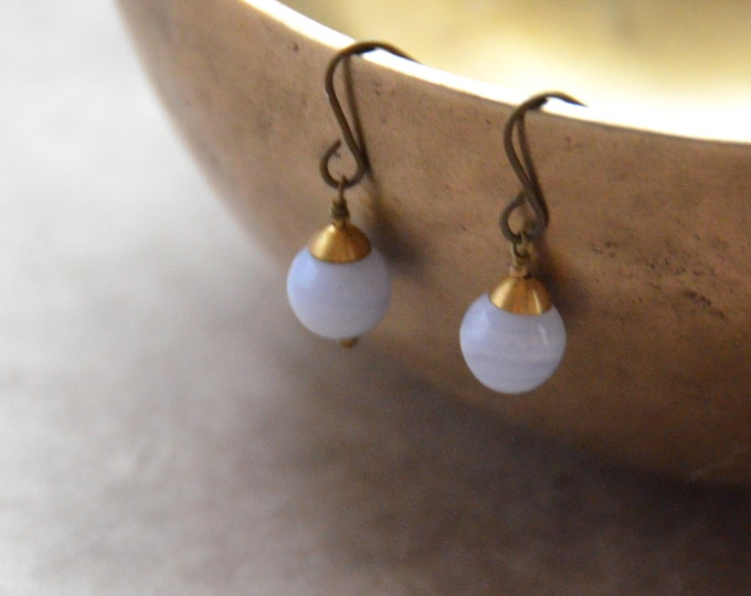 The Chakra Moon Earrings-  Blue Lace Agate