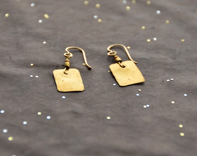The Candy Bar hammered brass earrings, select size