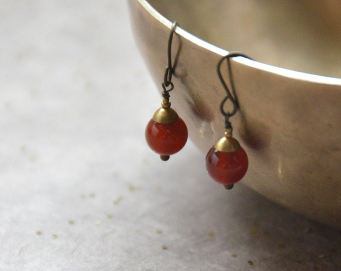 The Chakra Moon Earrings- Carnelian