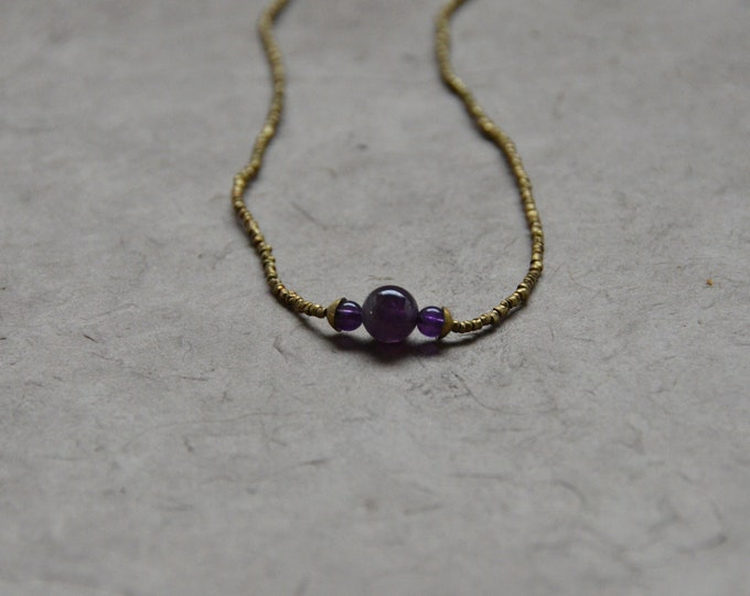 The Chakra Moon Necklace- Amethyst