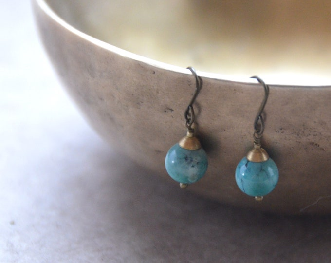 The Chakra Moon Earrings- Turquoise