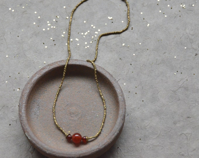 The Chakra Moon Necklace- Carnelian