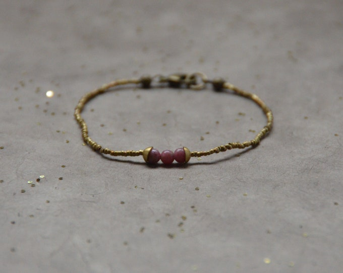 The Chakra Moon Bracelet- Rhodonite
