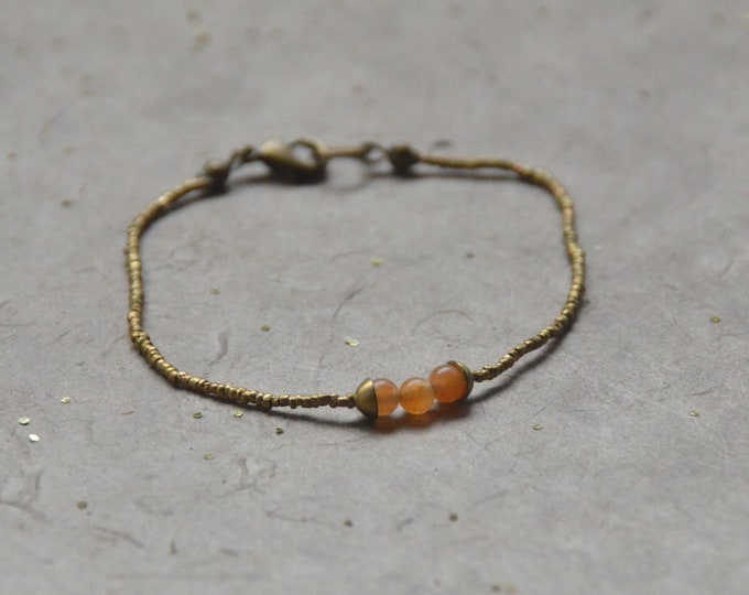 The Chakra Moon Bracelet- Orange Chalcedony