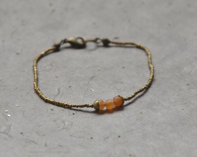 The Chakra Moon Bracelet- Orange Chalcedony
