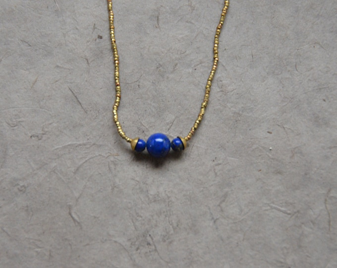 The Chakra Moon Necklace- Lapis