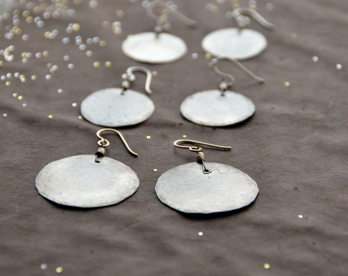 Mother Earth - hammered tin earrings, select size