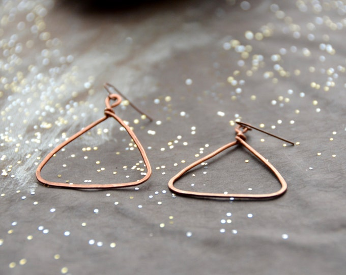 Pyramids - hammered copper Earrings, select size