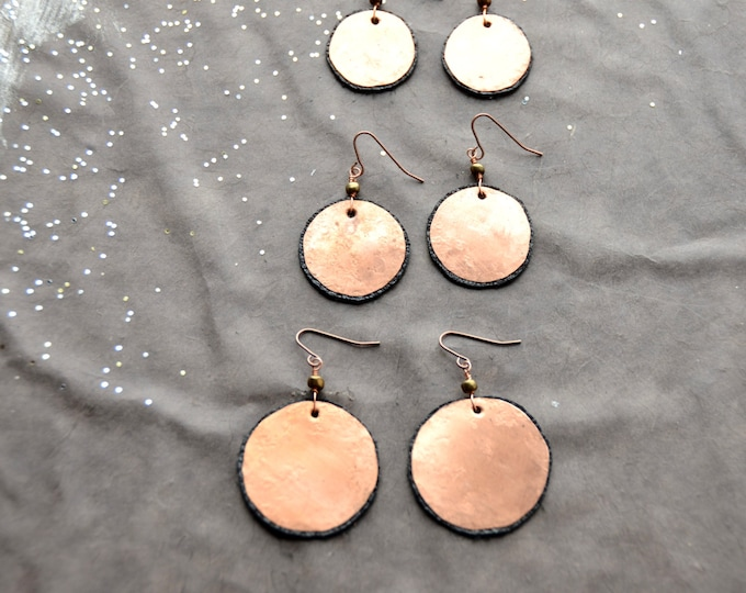 Mother Earth - hammered copper Earrings with black leather, select size