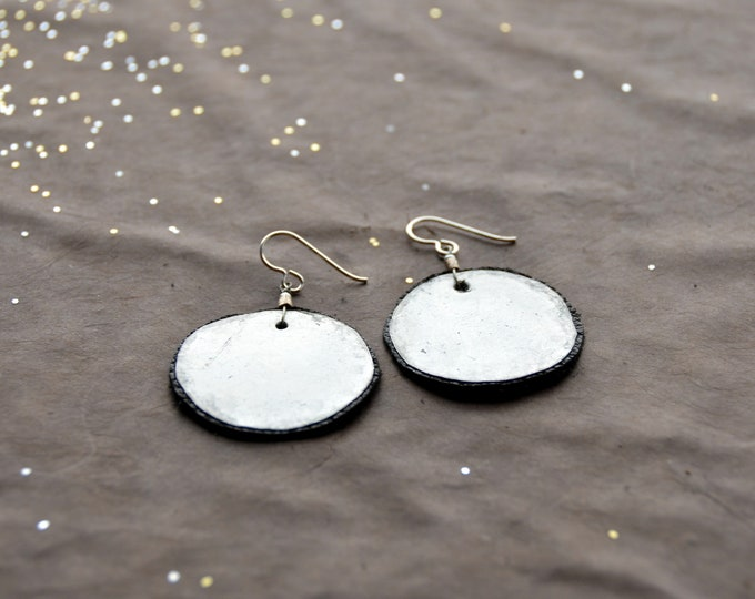 Mother Earth - hammered tin earrings with black leather, select size