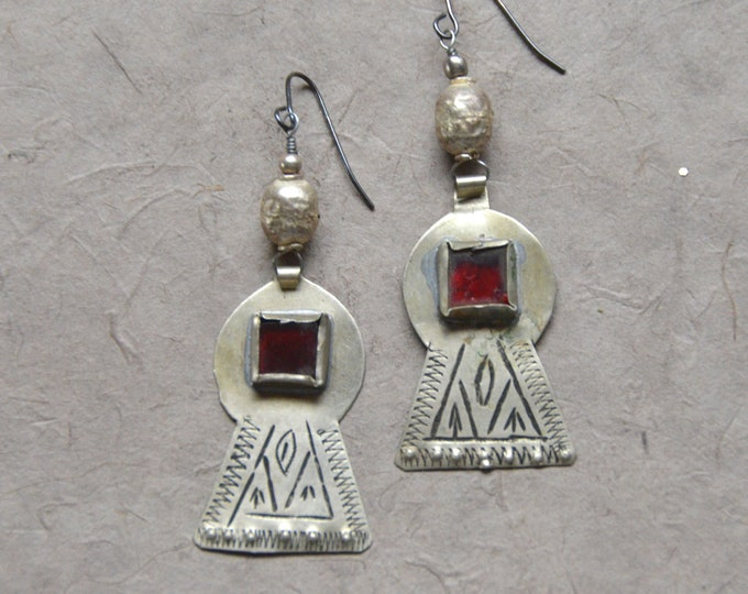 African Coin Silver Earrings