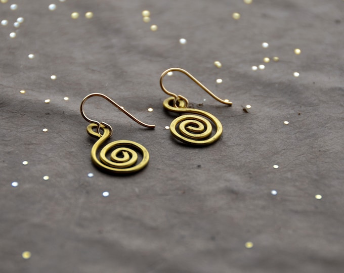 Spiral Path- hammered brass Earrings