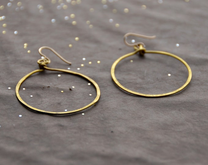 Hoops - hammered brass Earrings, select size