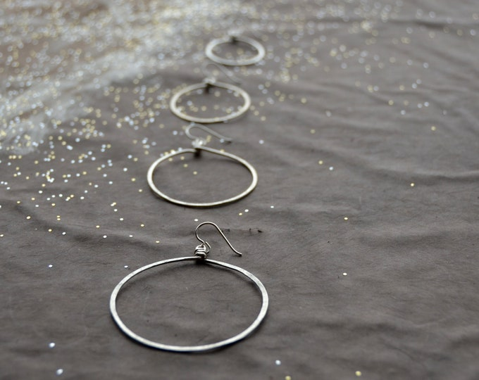 Hoop Mamas - hammered silver Earrings, select size