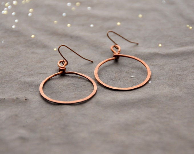 Hoop Mamas - hammered copper Earrings, select size