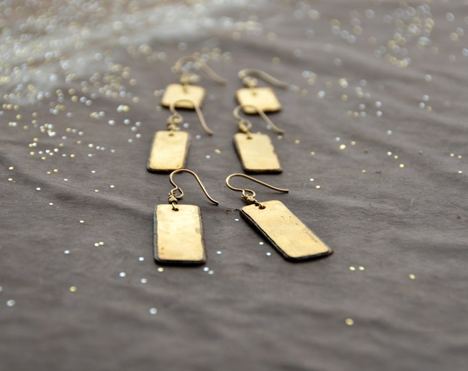The Candy Bar hammered brass earrings backed with bronze leather select size