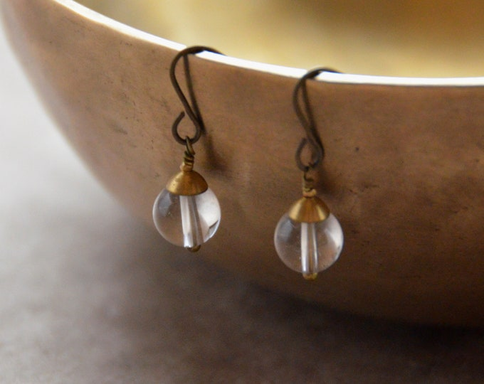 The Chakra Moon Earrings- Quartz Crystal