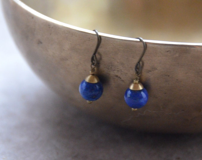 The Chakra Moon Earrings- Lapis