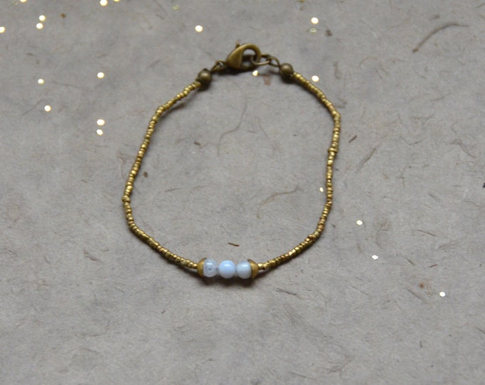 The Chakra Moon Bracelet- Blue  Lace Agate