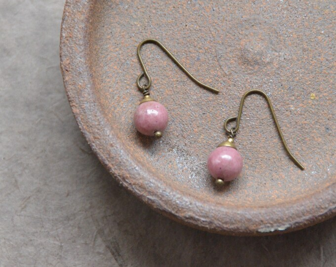 The Chakra Moon Earrings- Rhodonite