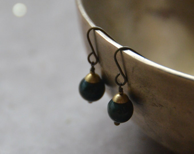 The Chakra Moon Earrings- Indian Jade