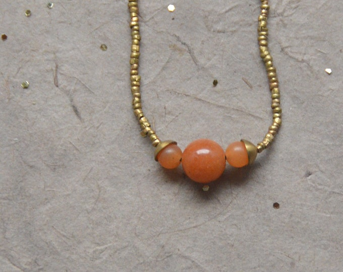 The Chakra Moon Necklace- Oange Chalcedony