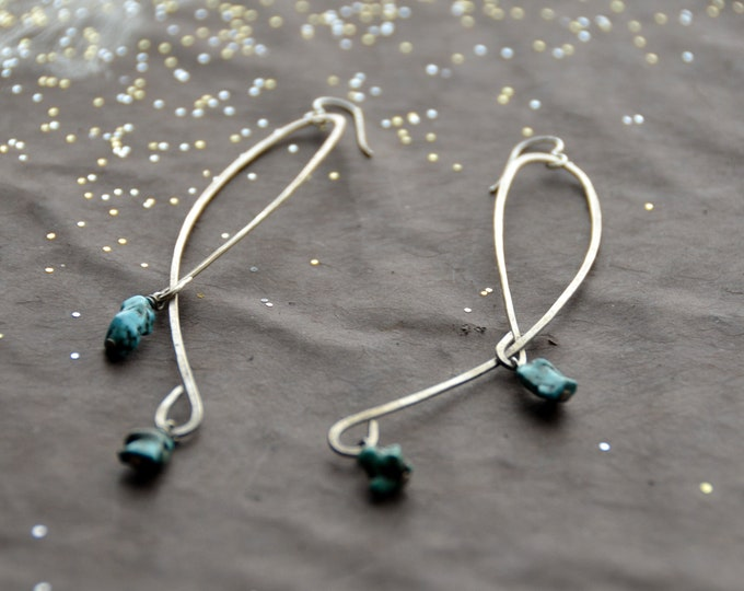 Winding Roads- Turqoise drop hammered silver earrings, select size