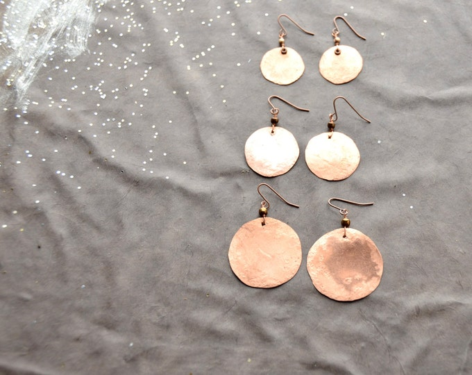 Mother Earth - hammered copper Earrings, select size