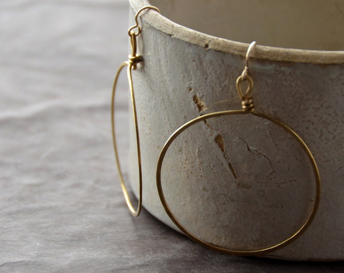 Hoop Mamas - hammered brass Earrings, select size