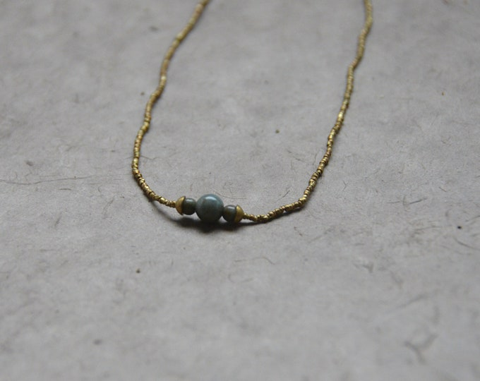 The Chakra Moon Necklace- Aqua Blue Quartz