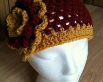 Harry Potter Gryffindor Inspired Crochet Adult Flower Hat - Maroon/Gold