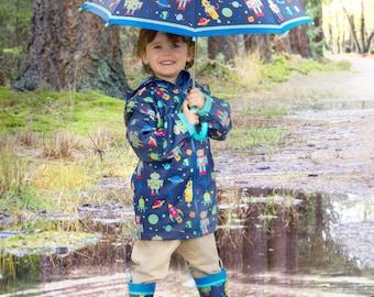 Kids Raincoat Baby Rain Boots,Deloito Baby Children Raincoat Hot! Infant Kids Rain Boots Shoes,Yellow Duck UFO Raincoat Umbrella Hat Hands Free Foldable