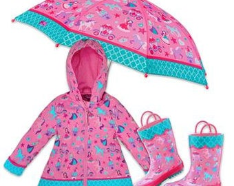 Owl Stephen Joseph Raincoat Cute Owl Girl Raincoat Rain Gear Preschool Kids Raincoat Teal Pink Yellow