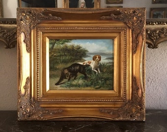 Art large Oil painting Hunter and Spaniels Horse Dog in landscape on canvas 36/""