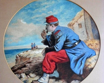 Sale Antique Portrait of WW1 French Soldier Smoking Pipe Coastal Watercolor Painting Art Home Decor