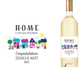 Home is Where Your Story Begins New Home Wine Bottle Labels with Houses