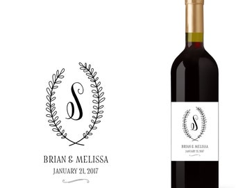 Wedding Wine Bottle Labels with Initials / Monograms