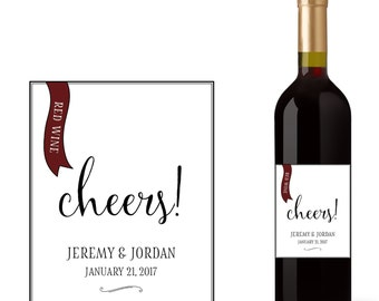 Wedding Red Wine Bottle Labels with Cheers!